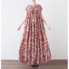 綿麻アート柄 花柄 半袖 フレア ワンピース レディース 韓国 結婚式 ドレス 黒 ブラック  送料無料