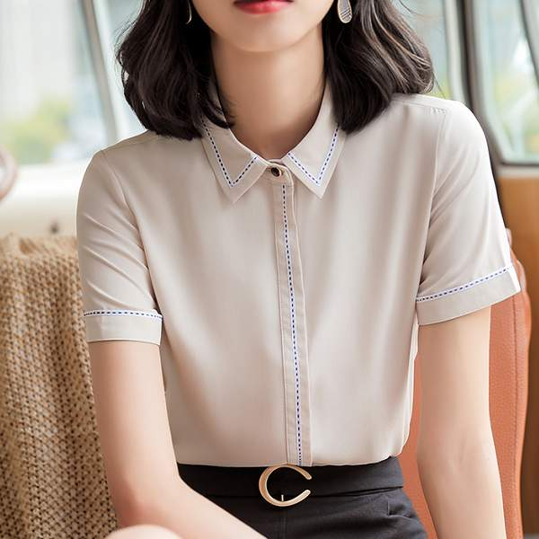 襯衫領配色虛線氣質上班OL短袖襯衫上衣[9S083-PF]灰姑娘