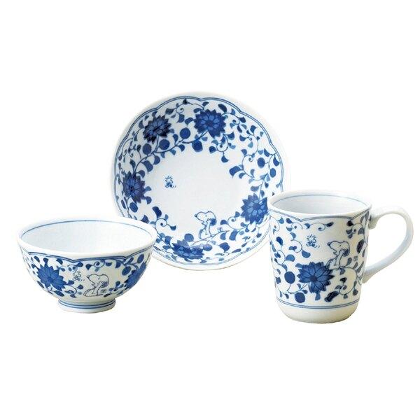 《富樂雅居》日本製 金正陶器 Snoopy 史努比 藍唐草 飯碗 圓缽 馬克杯 三入組