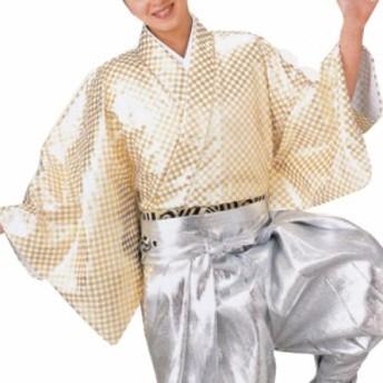 【お祭り用品】【手古舞衣装】袴下着物 市松 白/金【お祭用品/祭用品/お祭り】B8754
