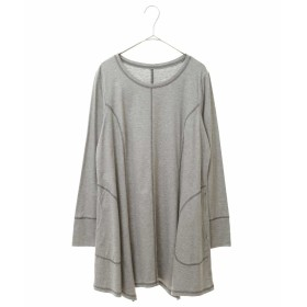 HIROKO BIS GRANDE 【洗える】ステッチデザインチュニック Tシャツ・カットソー,ライトグレー