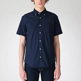 【Crestbridge 】ストレッチオックスフォードボタンダウンハーフスリーブシャツ