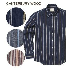 シャツ カジュアル メンズ CANTERBURY WOOD カンタベリーウッド クレープストライプ柄 長袖 トップス M/L/LL ニッセン
