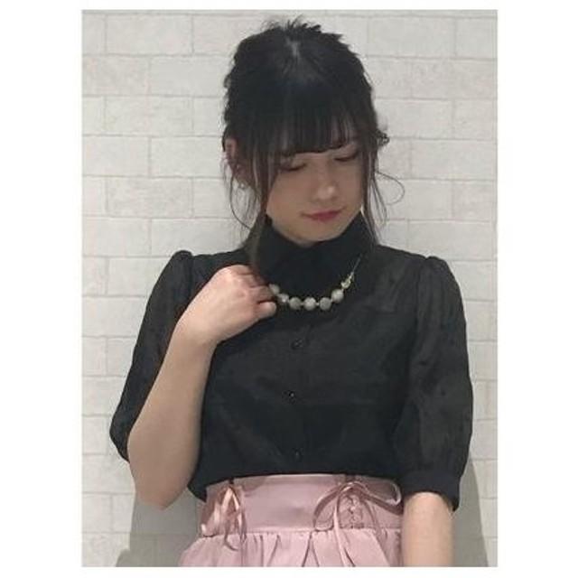 ROJITA ハート刺繍5分丈袖ブラウス ブラック