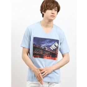 [マルイ]【セール】夜景転写ロゴエンボス加工Vネック半袖Tシャツ/セマンティックデザイン(semantic design)