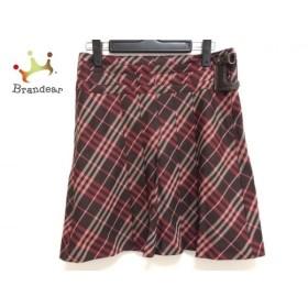 バーバリーブルーレーベル スカート サイズ36 S レディース ダークブラウン×レッド×ベージュ   スペシャル特価 20190922