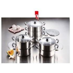 パール金属 だんらん ステンレス製ガラス蓋付3段蒸し器30cm [ 目皿付 ] 調理器具 厨房用品 厨房機器 プロ 愛用