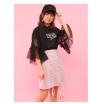 ハニーサロン Honey Salon レースアップ台形スカート (ライトピンク)