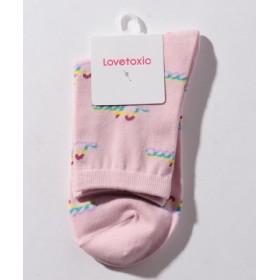 (Lovetoxic/ラブトキシック)レインボーロゴクルーソックス/レディース ピンク