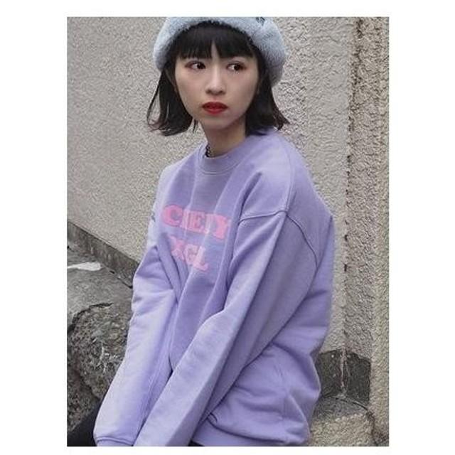 X-girl×VannaYoungsteinCREWSWEATTOP PURPLE