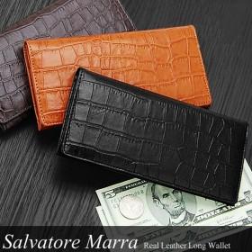 サルバトーレマーラ 財布サイフさいふ メンズ 長財布 人気 ブランド クロコ型押し 牛革 札入れ