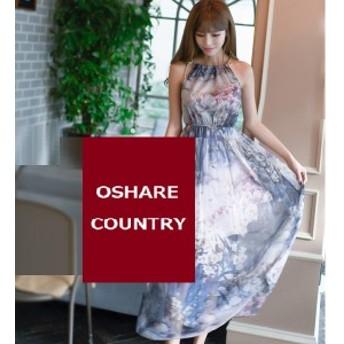 マキシ丈ワンピース レディース ロングシフォン ベルト 大きいサイズ おしゃれ 可愛い サマードレス