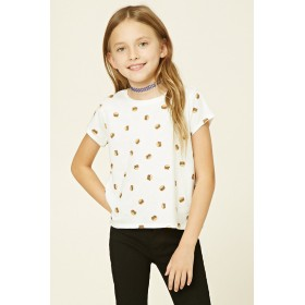 Tシャツ - FOREVER 21【KIDS】 【バーガープリントTシャツ】 子供服 女の子 tシャツ カットソー 白 ホワイト