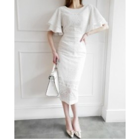 ホワイト ナイトドレス ミモレドレス ひざ丈ワンピース パーディードレス 結婚式 卒園式 OL 通勤 キャバドレス 着痩せ 気品が良い