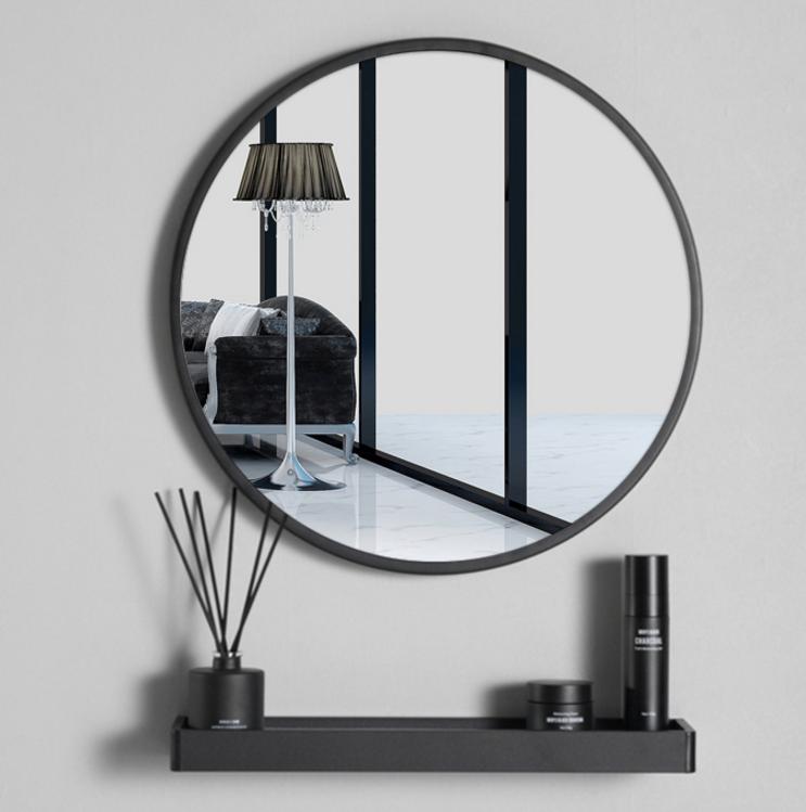 鏡子 40cm 圓鏡 壁掛鏡 梳妝鏡 北歐浴室鏡子 衛生間圓形鏡子 免打孔 壁掛 廁所洗手間 化妝鏡