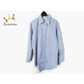 ランバン LANVIN 長袖シャツ サイズ39-78 メンズ 美品 ネイビー×白 ストライプ スペシャル特価 20190921