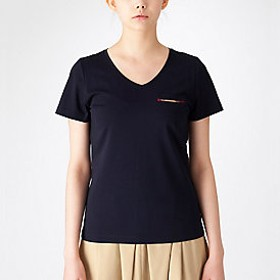 【ブルーレーベル・クレストブリッジ 】プレーティングシルケット天竺VネックTシャツ