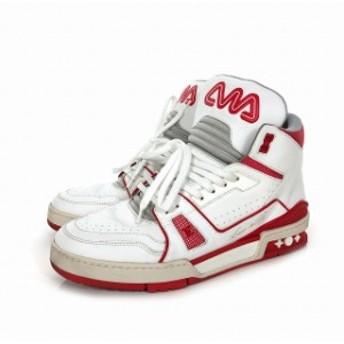 【中古】ルイヴィトン LOUIS VUITTON 19SS トレイナーライン MID スニーカー 靴 ハイカット 6 (25.5) ホワイト 白 赤 FD 1118