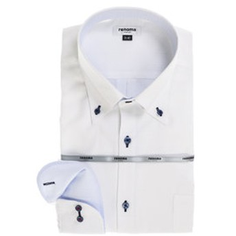 【GRAND-BACK:トップス】【大きいサイズ】レノマオム/renoma HOMME 形態安定ボタンダウン長袖ビジネスドレスシャツ