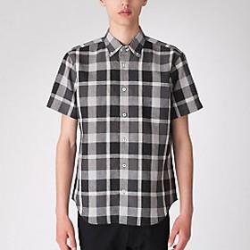 【Crestbridge 】リネンミックスクレストブリッジチェックハーフスリーブシャツ