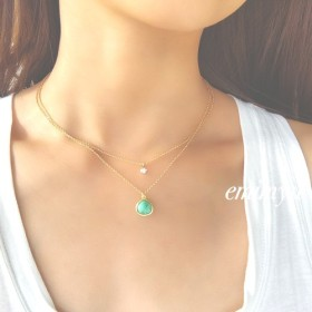 Double Chain 18Kcoating Crystal & Turquoise Necklace