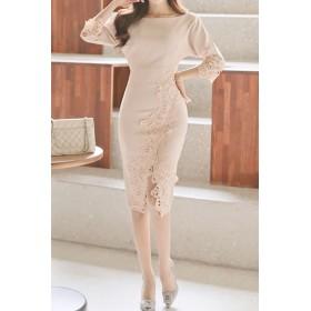 ドレス - Royal Cheaper 【AMANDA】【S.M.L.XL】カッティングレース袖付きワンピ