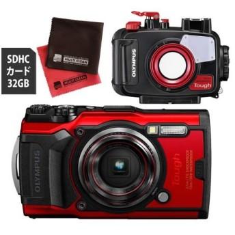 OLYMPUS オリンパス デジタルカメラ Tough TG-6 レッド (防水 防塵 耐衝撃 GPS内蔵) (SD32GB+防水プロテクターセット) (メール便不可)