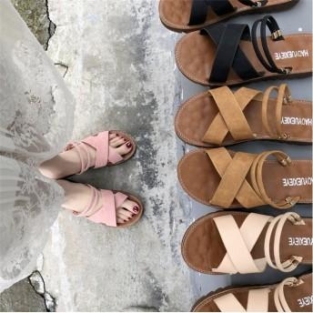 2way!フラットサンダル レディース 靴 歩きやすい ローヒール 美脚靴 シューズ ぺたんこフラットサンダル 滑り止め ビーチスリッパ