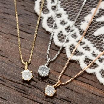 K18WG/YG/PG0.1ctダイヤモンドペンダント(ベネチアンチェーン) レディース