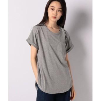 (Shelly island/シェリーアイランド)クルーネック裾ラウンドTシャツ/レディース GRY