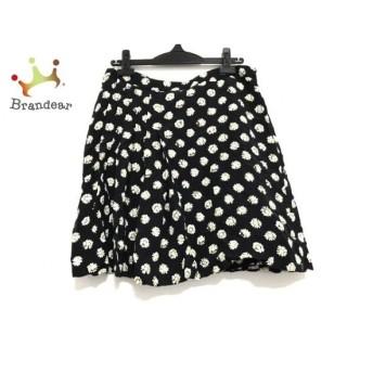 モスキーノ MOSCHINO スカート サイズ44 L レディース 美品 黒×白×イエロー 花柄/シルク  スペシャル特価 20200305