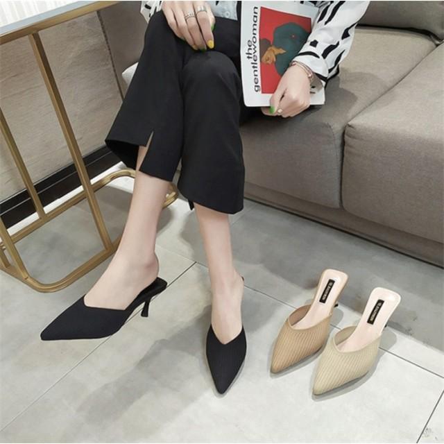 超人気インスタグラムで話題 韓国ファッション 夏 新 ハイヒールスリッパ 女性 上質ヒール 怠惰な靴