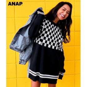 【セール開催中】ANAP(アナップ)ブロックチェック×ラインデザインニットチュニック