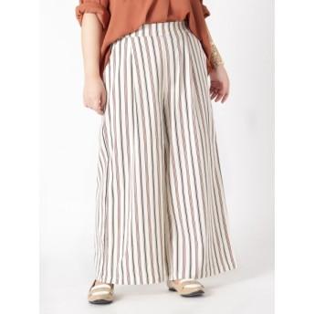【大きいサイズレディース】【L-5L】ゆったりサイズ!うれしい機能付!美脚シルエットワイドパンツ パンツ ワイドパンツ