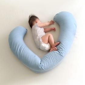 微粒子ロング枕-コットンベビーブルー 妊娠中の枕。怠versionな骨の長いバージョン。シュウ圧力。睡眠を助ける。軽量