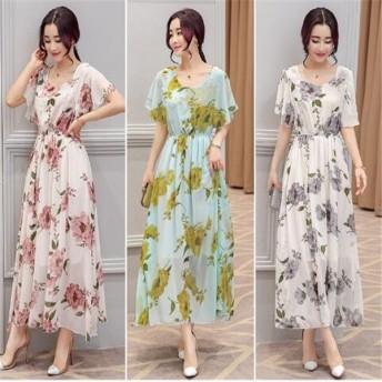 レディース ファッション 2019 人気 可愛い 大人 ロングワンピース 花柄 シフォン 上品 きれいめ 清楚 半袖 夏物 涼しい シフォン