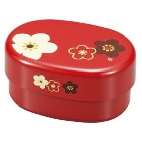 弁当箱 小判型 2段 朱 華文様梅