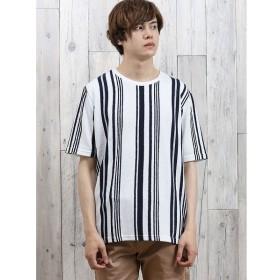[マルイ]【セール】変形梨地ストライプ クルーネック半袖Tシャツ/セマンティックデザイン(semantic design)