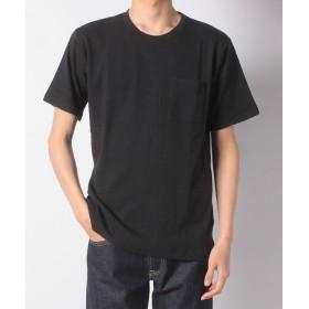 【70%OFF】ナノ・ユニバース:ジャガードサッカーストライプTシャツメンズブラックM【nano・universe】【セール開催中】