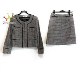 ナチュラルビューティー ベーシック スカートスーツ サイズL レディース 美品 黒×白 ツイード 新着 20190622