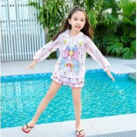 可愛い 人気 3点セット 女の子 ラッシュガード キッズ リゾート 長袖 UVカット 紫外線対策 日焼け防 ジュニア 温泉 スクール 女児