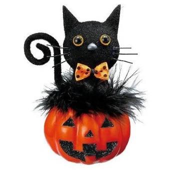 黒ネコ&パンプキン 中1個 【ハロウィン halloween 装飾 飾り ディスプレイ パーティー 猫 パンプキン インテリア 雑貨 小物 ハロウイン ハロウィーン】