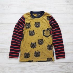 size130☆トラ柄長袖クルーネックTシャツ