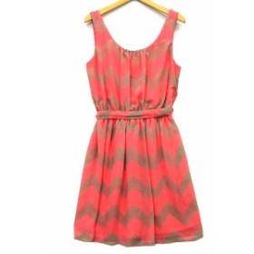 【中古】アズユーウィッシュ A SU WISH ドレス ワンピース ミニ ノースリーブ 総柄 ベルト ピンク ベージュ XS レディース