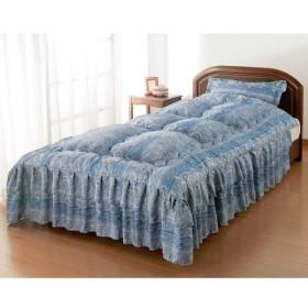 枕カバー付きシルク混ベッド布団シングル ブルー 0303920 ファミリー・ライフ 1枚 (直送品)