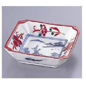 九谷焼赤絵見込山水 隅切皿