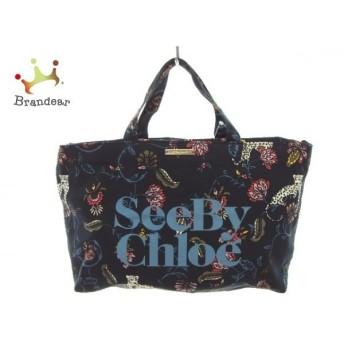 シーバイクロエ SEE BY CHLOE トートバッグ - ネイビー×ピンク×マルチ 花柄 キャンバス スペシャル特価 20190912