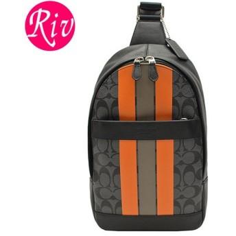 コーチ COACH バッグ ショルダーバッグ スリングバッグ メンズ チャコール オレンジ PVC レザー f72353al0
