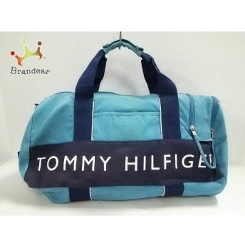 トミーヒルフィガー TOMMY HILFIGER ボストンバッグ ライトブルー×ネイビー キャンバス 値下げ 20190904
