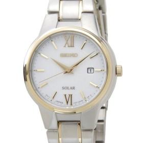 セイコー SEIKO SUT230P1 SOLAR ソーラー クオーツ ホワイト×ゴールド レディース 腕時計